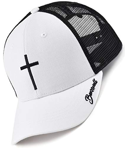 Bexxwell Trucker Cap weiß schwarz mit Kreuz-Stickerei (optimale Passform, Kappe, White, Black, Truckercap, Cross, Cap, Unisex)