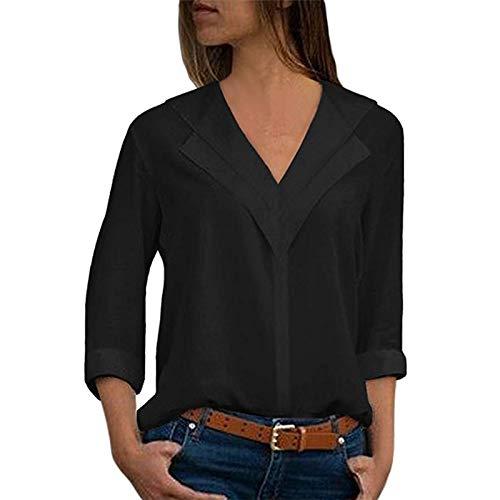 Camisas Mujer Tallas Grandes,❤️ Modaworld Moda Camiseta sólida Mujer chifón Blusas de Oficina de Manga Larga Lisa de Mujer Elegantes de Vestir Fiesta Camisetas Chica (Negro, M)