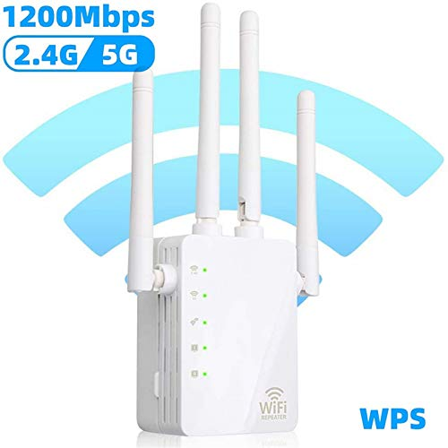 WiFi Range Extender, 1200Mbps Wireless Signal Repeater Booster, Dual Band 2.4G and 5G Expander, 4 Antennas 360° Full Coverage, Extend WiFi Signal to Smart Home & Alexa Devices(KW1200N03) (White)