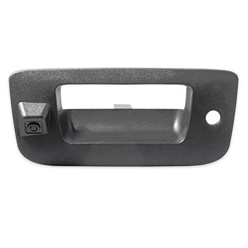 EWAY Tailgate Handle Backup Camera for Chevrolet Silverado GMC Sierra 1500 2007-2013 2500 3500 Heavy Duty 2007-2014 Waterproof Removable Guide Line Reversing Backing Cameras (Black, 1 Pack)