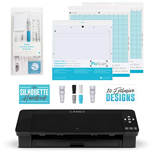 Silhouette Cameo 4 Extras Bundle with Extra AutoBlade, Tool Kit, Cutting mat and PixScan. Silhouette Handbook,10 Extra Designs - Black Edition