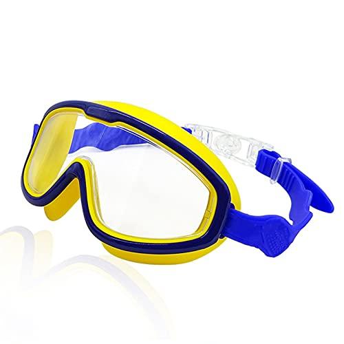Gafas de Natación Niños Anti-Niebla Gafas de natación 3D Anillo de Silicona Ajustable Impermeable para Nadar a Prueba de Agua HD Gafas de Buceo (Color : Dark Blue Yellow)