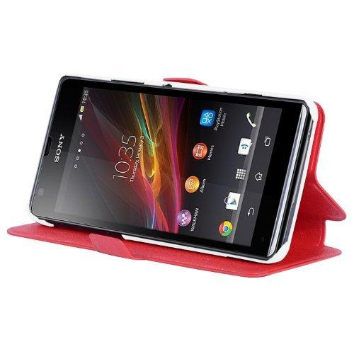 Preisvergleich Produktbild Cadorabo Hülle für Sony Xperia C - Hülle in ICY ROT Handyhülle mit Standfunktion und Kartenfach im Ultra Slim Design - Case Cover Schutzhülle Etui Tasche Book
