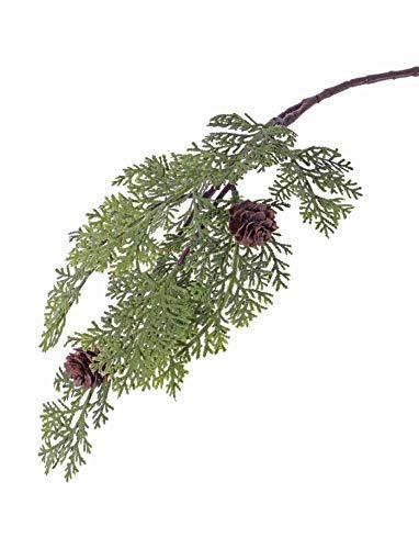 artplants.de Künstlicher Zedernzweig Marlon, grün, 10 Blätter, 2 Zapfen, 45cm - Deko Zweig Weihnachten - Koniferen Kunstzweig