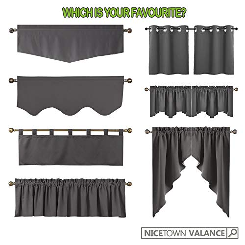 NICETOWN Blackout Pole Pocket Kitchen Tier Curtains- Tailored Scalloped Valance/Swags for Basement (1 Set, 72 inches Wide Combined, 63 inches Long, Burgundy)