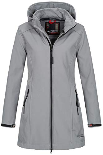 A. Salvarini Damen Softshell Jacke wasserabweisend Outdoor lang AS-131 [AS-131-Hellgrau-Gr.L]