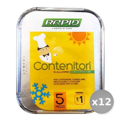 Set 12 MISTER PACK Contenitore Alluminio 1 Porz.x 5 Pezzi con cop r24 Contenitori per la Cucina