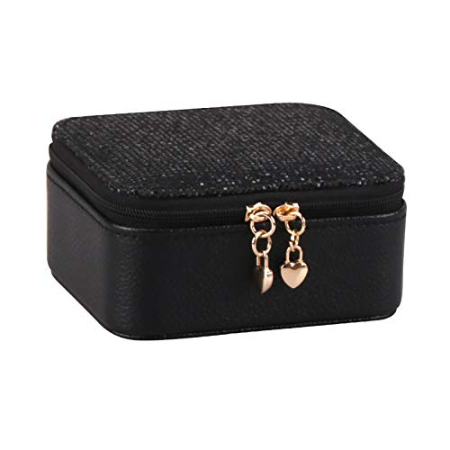GUANYUA Organiser Box Jewellery Small Travel PU Artificial Leather Jewelry Storage Case for Rings Earrings Necklace Bracelets Faux Leather Jewelry Gift Box Girls Women black