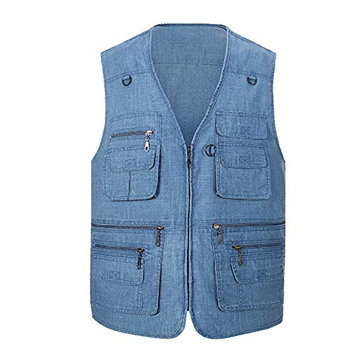U/A Leisure Gilet de plein air multi poches Photographie - Bleu - L