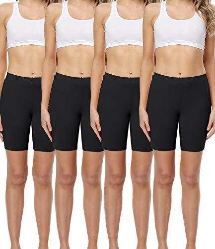 wirarpa Unterhosen Radlerhose Boxershorts Damen Hoher Bund Baumwolle Shorts Panties Lange Unterwäsche Schwarz 4er Pack Größe M
