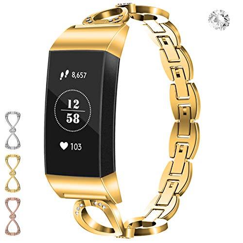 Wekin Ersatz-Armband, kompatibel mit Fitbit Charge 3/3 SE, verstellbares Metall-Armband für Damen und Herren, Stahl-Armband mit Strass für Charge 3, Stainless Steel Metal Band for charge 3, gold
