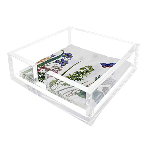 Acrylic Disposable Hand Towel Napkin Holder(7.8x7.8x2.5 Inch) | Transparent Guest Bathroom Paper Hand Towels Storage Tray | Napkin Caddy Fancy Flat Holders for Kitchen Countertop or Dining Table