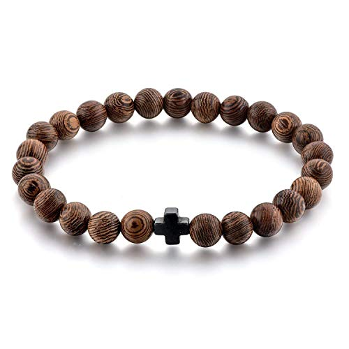 Small Children Size, Smaller 6 MM Beads – Christian Prayer Beads Bracelet – 25 Beads & Cross - 6 MM Wooden 25