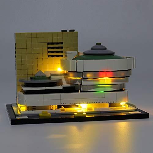 RTMX&kk USB Juego de Luces de para Arquitectura Museo Solomon R. Guggenheim Modelo de Bloques de Construcción, Conjunto de Luces Lluminación Compatible con Lego 21035 (NO Incluido en el Modelo)