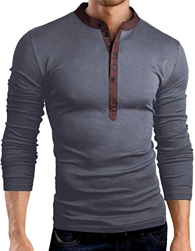 SLYZ Herren Herbst Neue Mehrfarbige Lässige T-Shirt Einfarbige Mode Große V-Ausschnitt Langärmelige Schlanke T-Shirt Boden Shirt Top
