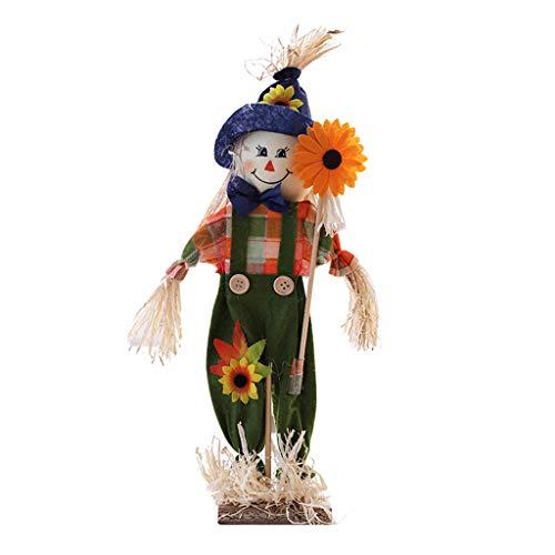 JERKKY Muñeca de Paja, Adornos de espantapájaros, Flor de pie, muñeca de Paja, diseño de Escritorio, decoración de Halloween para jardín de Infantes, Aula, Azul