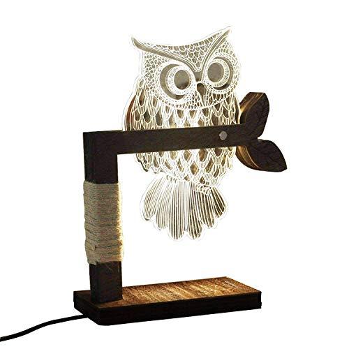 GENGJ Lampada da Tavolo a LED dimmerabile CITTATREND - Lampada da Comodino in Legno di Design in Acrilico 3D visiva - Luce da Notte Bianca Calda - Regalo per la Camera dei Bambini