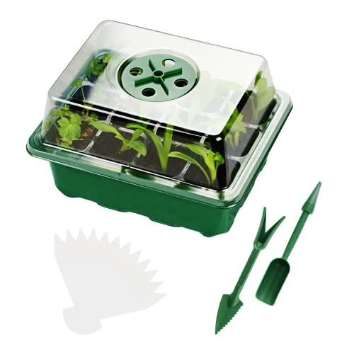 Jujey 4 Stück Mini Gewächshäuser und Ausrüstung zur Anzucht, Anzuchtschalen mit Deckel und Belüftung, Anzucht Set Ideal für das Pflanzenwachstum und die Saatgutkeimung