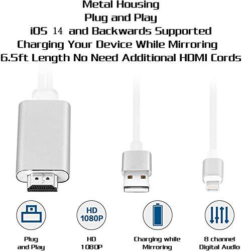Compatible avec iPad iPhone à Câble HDMI, 6.6ft Câble Adaptateur HDMI, Câble HDTV Adaptateur AV numérique 1080P Compatible avec iPhone 11 Pro XS Max XR X 8 7 6 vers Projecteur TV Moniteur