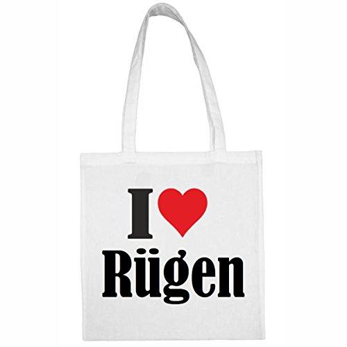 Tasche I Love Rügen Größe 38x42 Farbe Weiss Druck Schwarz