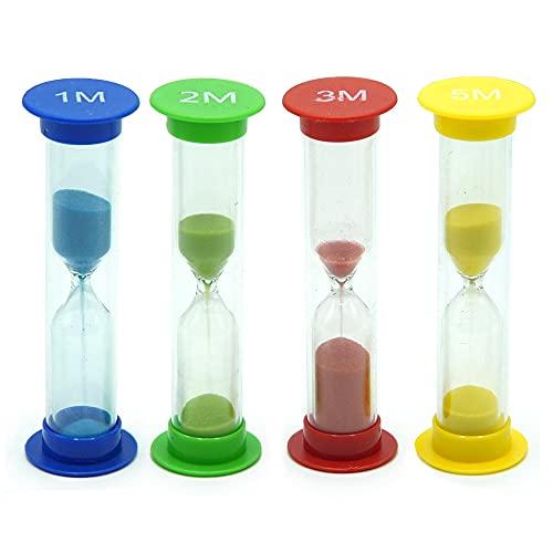 TeacherFav Sand Timer for Kids Set of 4 Small Colorful Hour Glass Acrylic Covered Clock 1Min 2Min 3Min 5Min for Classroom, Home & Kids Room