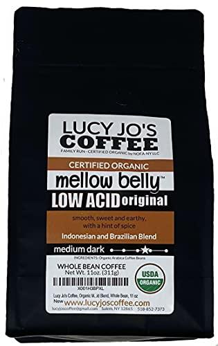 Lucy Jo's Coffee, Organic Mellow Belly Low Acid Blend, Whole Bean, 11 oz (11 OZ)