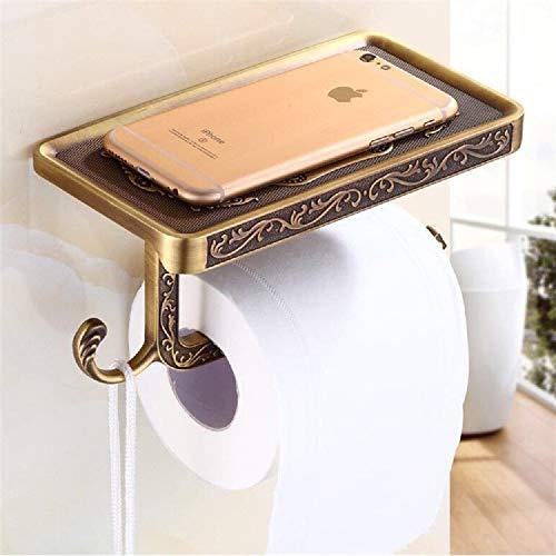 xiaoqun Soporte para rollo de papel montado en la pared, soporte de papel higiénico de latón cepillado con estante de almacenamiento para teléfono, soporte de pared para papel higiénico,