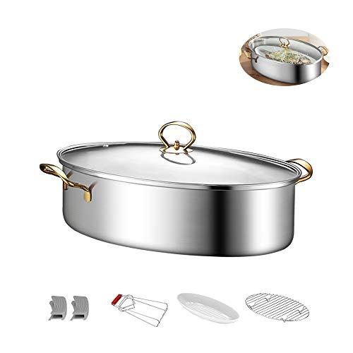 DQM Ovaler gedämpfter Fischtopf, 304 Edelstahl-Multifunktions-Suppentöpfe, Dampfgarer mit Regal/Keramikplatte/Klemme, für Induktionsherd/Gasherd
