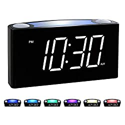 Rocam Alarm Clock for Bedrooms - Large 6.5 LED Display with Dimmer, Snooze, 7 Color Night Light, Easy to Set, USB Chargers, Battery Backup, 12/24 Hours for Heavy Sleepers, Kids, Boys, Girls, Elderly