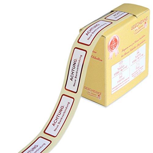 Geschenke mit Namen 1491 300 EtikettenACHTUNG: Neue Bankverbindung, metallic-rot, mit metallic-roter Schrift und metallic-rotem Rand auf weißem Grund, auf der Rolle, im praktischen Spender rot