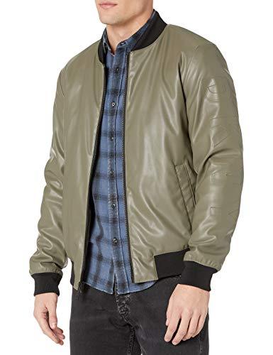 DKNY Men's Leather Bomber Jacket, Olive - Soft Lamb Faux PU, Large