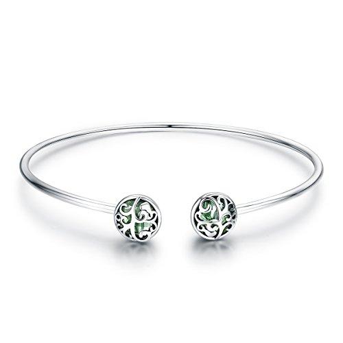 Brazalete de plata de ley 925 con cristales verdes de árbol de la vida, para mujer