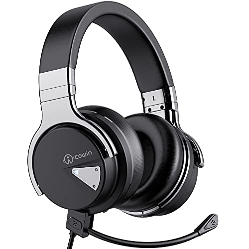 COWIN E7 Gaming Headset 7.1 Surround Sound Over Ear Wireless Bluetooth Active Noise Cancelling Headphones, Comfortable Earpads, Gaming Headphones with Noise Cancelling Microphone for PC, Black