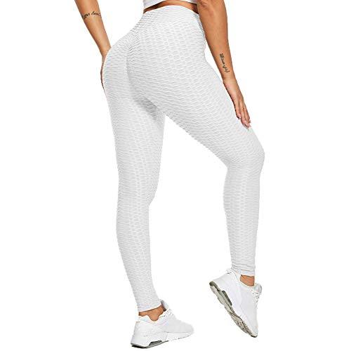 SotRong Damen Hohe Taille Yoga Hosen Lange Slim Fit Leggings mit Bauchkontrolle Mädchen Laufhose Weiß S