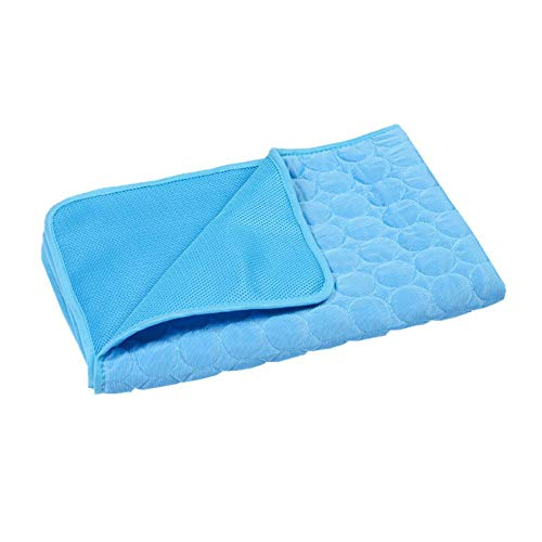 Gokeop Cooling Mat for Dogs - Pressure Activated Pet Cooling Mat, No Need to Freeze Refrigerate Cat Pad, Use for Indoor Chair Bed, Outdoor Lawn, in The Car, Best Choose in Summer (Navy Blue, SizeXLL)
