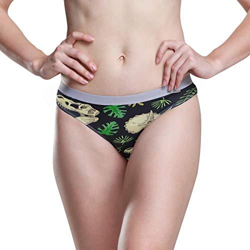 PUXUQU - Calzoncillos para mujer, diseño de dinosaurio, diseño de calavera y palma, color blanco