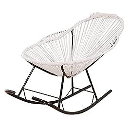 Fauteuil à bascule inclinable en rotin blanc pour enfants Adultes Pépinière Chaises longues inclinables Chaise de jardin…