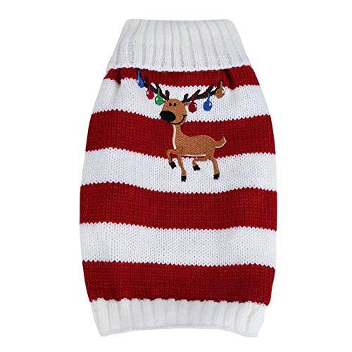 Suéter cálido para mascotas, abrigo de invierno para perros y gatos para decoración de mascotas, para vacaciones y ocasiones especiales,(red, XS)