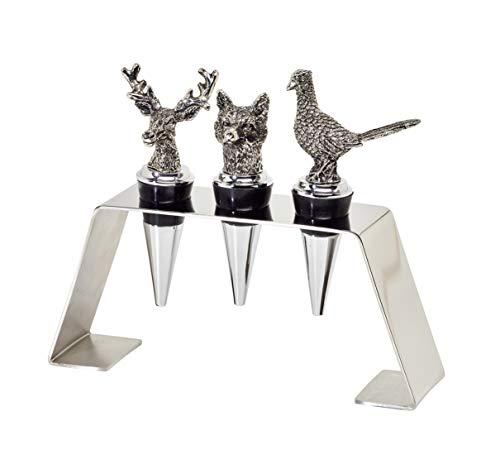 EDZARD 3er Set Edelstahl Flaschenverschlüsse mit Ständer, Hirsch, Wildschwein, Fasan, Höhe 9 cm