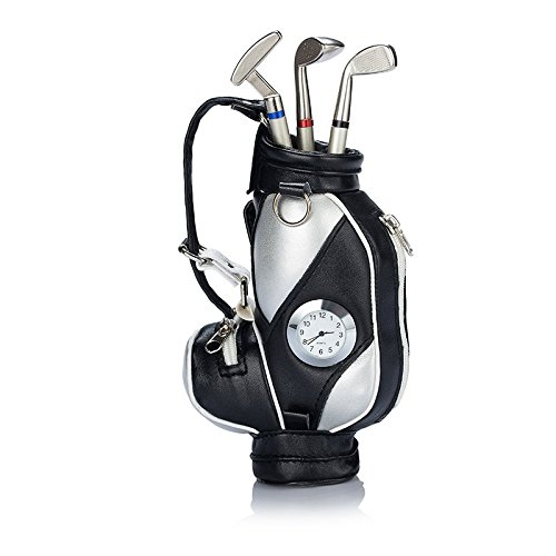 Seadream Golf Gift Set,Desktop Golf Bag Pens Holder with Clock and 3 Pens