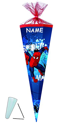 alles-meine.de GmbH personalisierte Tüll - Schleife - passend für Schultüte -  Spider-Man  - 22 / 35 / 50 / 70 / 85 cm - incl. Namen - Zuckertüte ALLE Größen - mit / ohne Kunst..