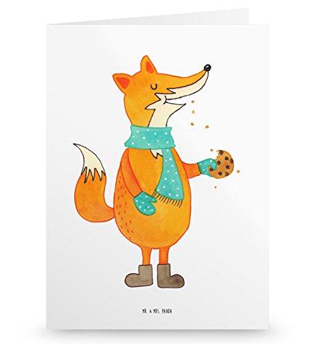 Mr. & Mrs. Panda Geburtstagskarte, Klappkarte, Grußkarte Fuchs Keks - Farbe Weiß