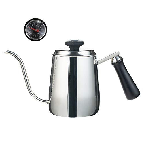 MeelioCafe Kaffeekessel mit thermometer, Schwanenhals-Ausguss Kaffeekanne, Wasserkocher klein 0,35 liter Edelstahl, Tropfwasserkocher - Kaffee, Tee, kaffee filtern von hand 1-2 tasse