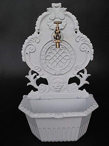 Gründerzeit (époque des fondateurs) FONTAINE MURALE ALUMINIUM FONTE , blanc, mur Fontaine résistant aux intempéries, 60 cm
