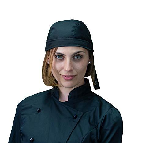 Taschentuch, Halstuch, Bandana, Baskenmütze, Kopfbedeckung, Mann und Frau, schwarz, für Koch, Kellner, Küche und Catering, Catering, Made in Italy