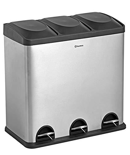 Homra Luxus Abfalleimer mit Fußpedal - 3-Fach (3x20L) Mülltrennsysteme 60 Liter - einzigartig matt grau/schwarz, Hochwertiger Edelstahl Maxer