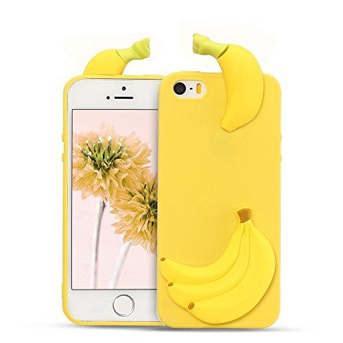 Mosoris Cover iPhone 5/5S/SE Natale Nuova 3D Cartone Animato Modello Case Ultra Sottile TPU Silicone Satinate Opaco Protettiva Custodia Antiscivolo Flessibile Gomma Gel Caso - Banana