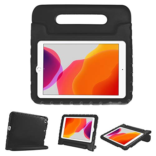 """ProCase Kids Case for iPad 10.2 9th Gen 2021 / 8th Gen 2020 / 7th Gen 2019 / iPad Air 10.5"""" 2019 / iPad Pro 10.5, Shockproof Convertible Handle Stand Cover Light Weight Kids Friendly Case -Black"""