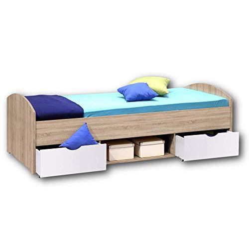 NEMO Modernes Einzelbett mit 2x Schubkästen 90 x 200 cm - Praktisches Jugendzimmer Kojenbett in Eiche Sonoma Optik - 96 x 66 x 204 cm (B/H/T)