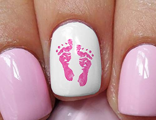 Pink Baby Footprints Water Slide Nail Art Decals - Salon Quality Great Gift for Baby Shower!